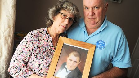 Jayne Jones pictured with Aiden's father Martin Jones. Picture: GREGG BROWN