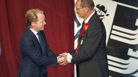Conservative Ben Gummer congratulates Labour's Sandy Martin after losing the Ipswich seat. But would