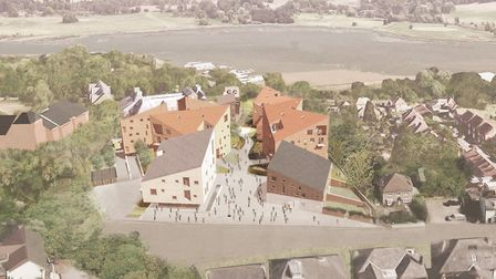 A CGI aerial view of the proposed development of the former Suffolk Coastal HQ site on Melton Hill,
