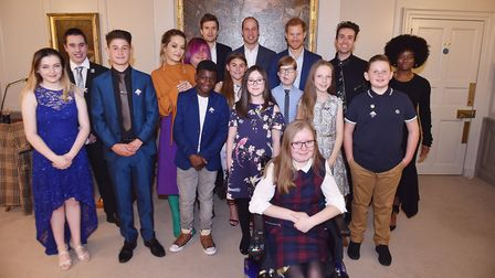 Rafe Louis with other finalists at Kensington Palace with Princes William and Harry. Picture: BBC RA