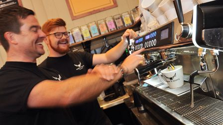 Scott Russell and barista trainer Kit Wilkins-Smith at the Bury St Edmunds Paddy and Scott's. Photo: