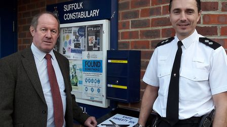 Suffolk PCC Tim Passmore with Inspector Danny Cooper outside Haverhill Police Station with the amnes