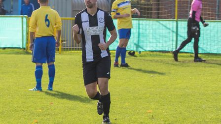 Mark Ray celebrates his first goal for Woodbridge. Picture: PAUL LEECH
