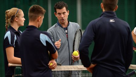 Tim Henman during his visit to Culford School. Picture: PAGEPIX LTD