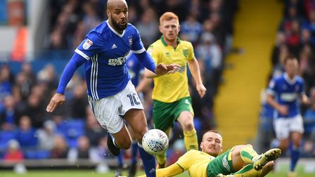 Ipswich Town's David McGoldrick pictured in action during yesterday's 1-0 East Anglian derby defeat