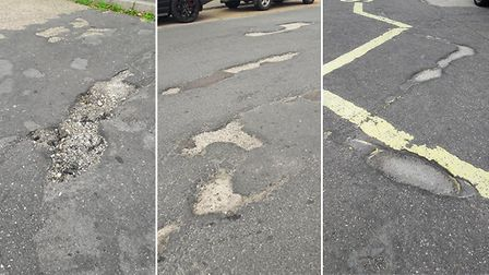 Road defects identified by Ipswich borough councillor Colin Smart in his Sprites ward - which highwa