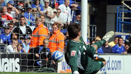 Norwich City keeper David Marshall is beaten during Ipswich Town's 3-2 win at Portman Road in April