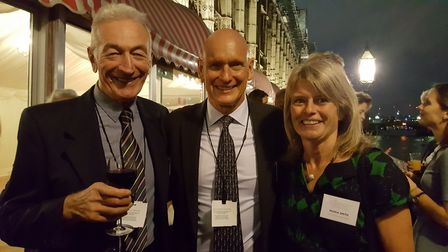 Duncan Goodhew (centre) with Maria Smith (right) and Len Phoenix (left) at the Swimathon celebration
