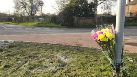 Flowers at the site of the fatal crash. Picture: SU ANDERSON