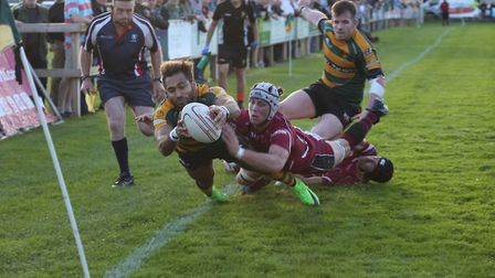 Bury's Conan Osborne is denied a try at the death as his foot strays into touch against league leade
