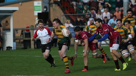 Chris Lord surges through for Bury's opening try. Picture: SHAWN PEARCE