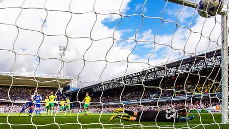 The ball hits the back of the Norwich City net at Portman Road last season, but who scored it for Ip