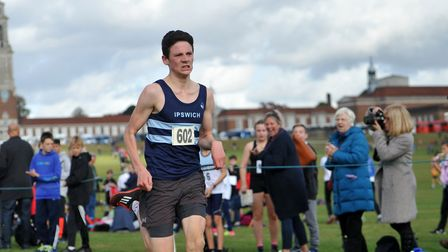 Jack Grady, on his way to fourth spot in the senior boys' race at Royal Hospital School, Holbrook.
