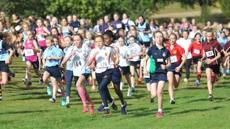 The minor girls' race at the Suffolk Schools Area Cross Country Championships. Picture: SARAH LUCY B
