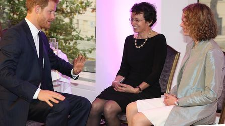 Dr Lucy Grove with Prince Harry. Picture: WELLCHILD