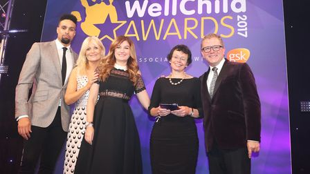 Dr Lucy Grove with Ashley Banjo and Gaby Roslin, who hosted the event, and WellChild Ambassadors Kar