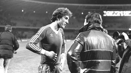 Terry Butcher celebrates the 1981 UEFA Cup semi-final win over Cologne . Picture: ARCHANT
