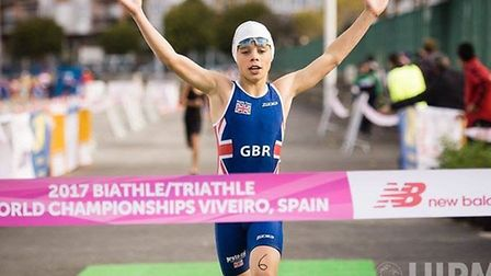 Elliot Gladwell celebrates victory in Spain. Picture: UPIM