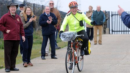 Brian Rowson heads off on a 2,200 cycle ride for charity in 2012 to mark his 75th birthday. Picture: