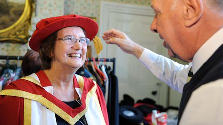 Christine Dobson, who was part of the team that established the University of Suffolk, is awarded an