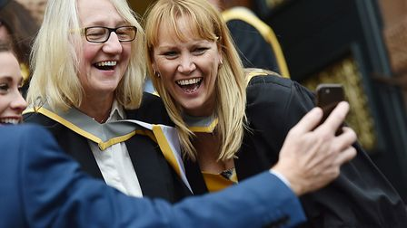 Students celebrate during their graduation from the University of Suffolk. Picture: JAMES FLETCHER