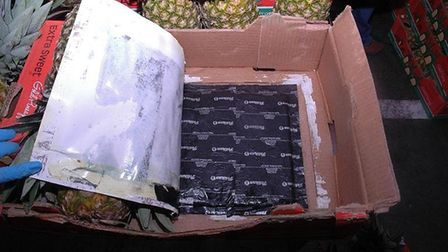 One of the pineapple crates which Colverson and Smith used to bring drugs into the UK. Picture: SUFF
