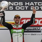 Danny Buchan celebrates victory in the 2017 Pirelli National Superstock 1000cc Championship. Picture