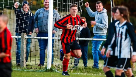 Liam Hillyard scored a hat-trick in just five minutes for Achilles on Saturday. Picture: STEVE WALLE