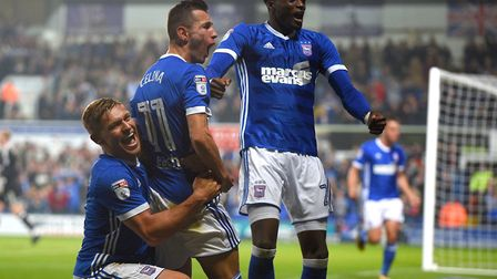 Martyn Waghorn, Bersant Celina and Dominic Iorfa celebrate during Tuesday night's 5-2 home win over