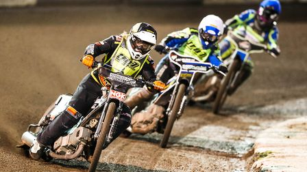 Nathan Greaves and Danny King hold off Todd Kurtz for a shared opening heat in the Sheffield v Ipswi