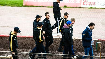 Witches riders looking relaxed on a pre-meeting track walk ahead of the Sheffield v Ipswich play-off