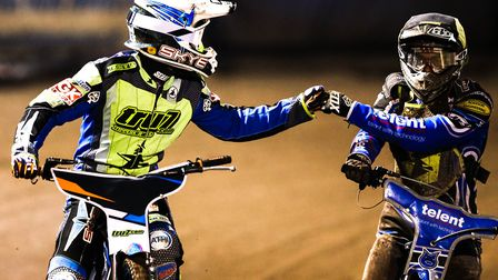 Rory Schlein congratulates guest Tom Bacon after their heat advantage in heat four