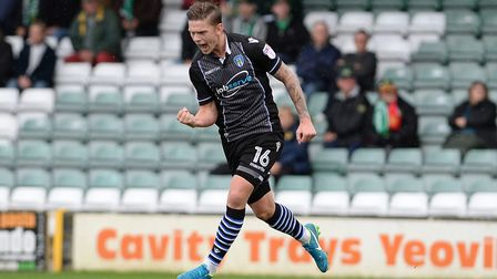 Sean Murray celebrates his first-half goal at Yeovil Town this afternoon. It was his first goal in a