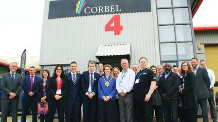 Mayor of Ipswich Sarah Barber with staff and visitors at the official opening of Corbel's latest bus