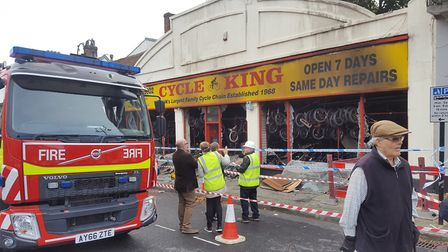 The charred frontage of Cycle King in Bury St Edmunds after a fire tore through the building. Pictur