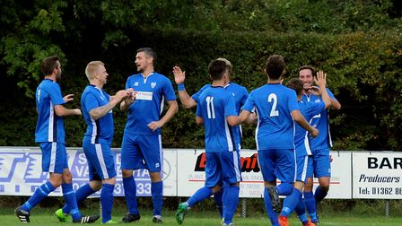 Brantham celebrate the opening goal in the first half at Walsham. Picture: ANDY ABBOTT