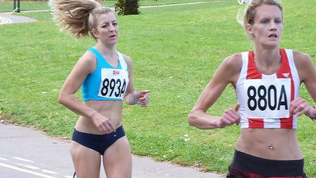 Holly Archer (893A) in action on the first leg for West Suffolk AC at Crystal Palace Park last weeke