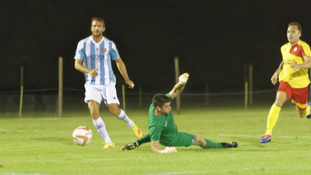Joe Francis rounds Walsham 'keeper Barry Lynn to secure the 1-0 win for the Seasiders on Wednesday n