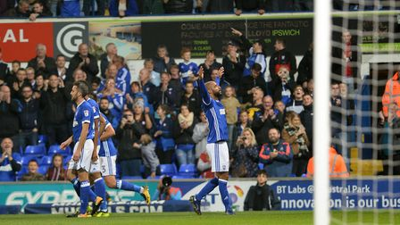 David McGoldrick celebrates his goal against Sunderland. He's netted three in three now. Photo: Page