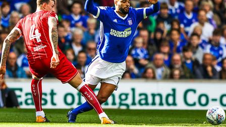 David McGoldrick goes down in this challenge by Aden Flint. Picture: STEVE WALLER WWW.STEPHEN
