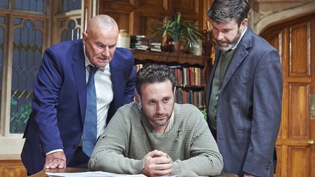 Chris Ellison, Antony Costa and Ben Nealon in A Judgement In Stone, at the Theatre Royal, Bury St Ed
