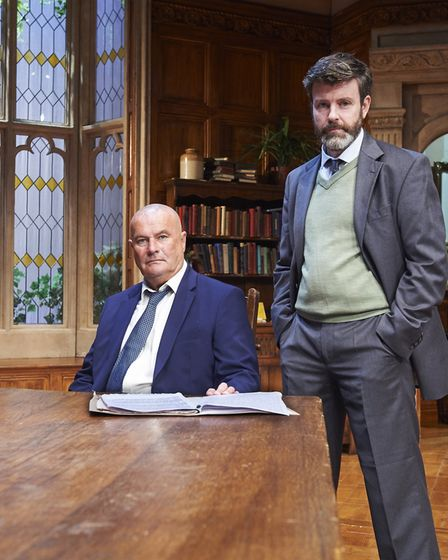 Chris Ellison and Ben Nealon in A Judgement In Stone, at the Theatre Royal, Bury St Edmunds. Photo: