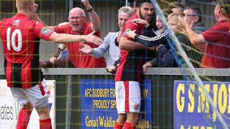 Juan Luque celebrates his goal for Heybridge at AFC Sudbury. Luque netted the opener in the FA Cup w