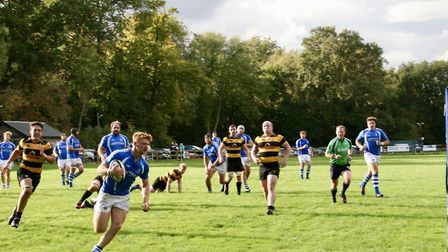 Diss run in a try in their remarkable win over Letchworth. Picture: JOHN GRIST