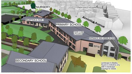 This artist'�s impression shows how the first all-through school in Essex is set to look.