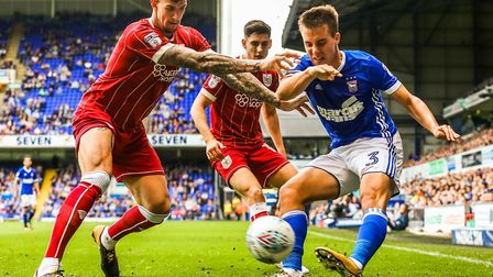 Jonas Knudsen in action during Ipswich Town's 3-1 home defeat to Bristol City on Saturday. Photo: St