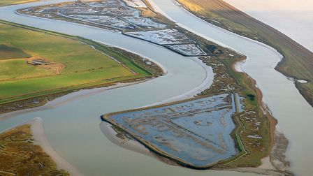 An aerial view of Havergate Island - a site in the River Ore, near Orford, that is steeped in histor