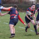 Nick Faliveno, seen here about to take a pass, was one of many Stowmarket try scorers! Picture: RIC