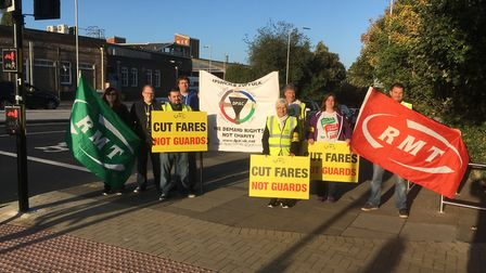 The strike outside Ipswich station. Picture: PAUL GEATER