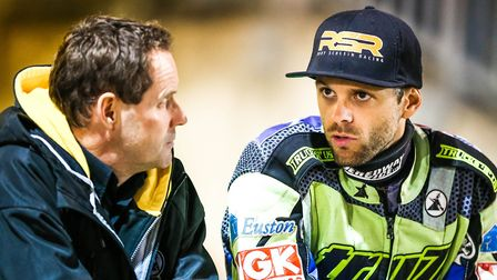 Witches promoter Chris Louis, left, talks with Rory Schlein at the play-off final. Louis has been bu